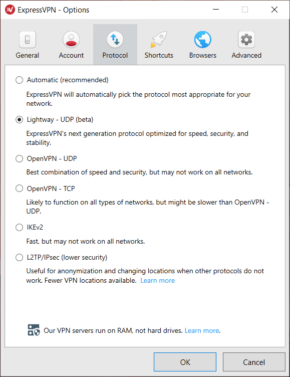 ExpressVPN encryption vpn protocols