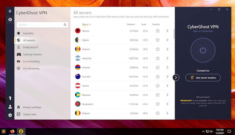 CyberGhost desktop VPN app