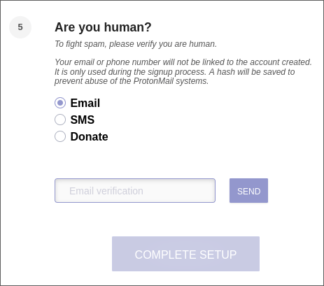Step 5 of ProtonMail account creation. Any of the required options here is personal information.