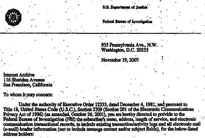 En del av ett nationellt säkerhetsbrev skickat till Internetarkivet den 19 november 2007. Källa: Federal Bureau of Investigation, Public domain, via Wikimedia Commons.