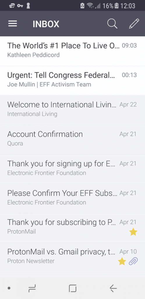 The ProtonMail Android app.