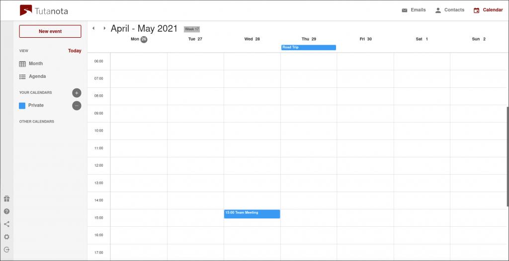 Tutanota calendar