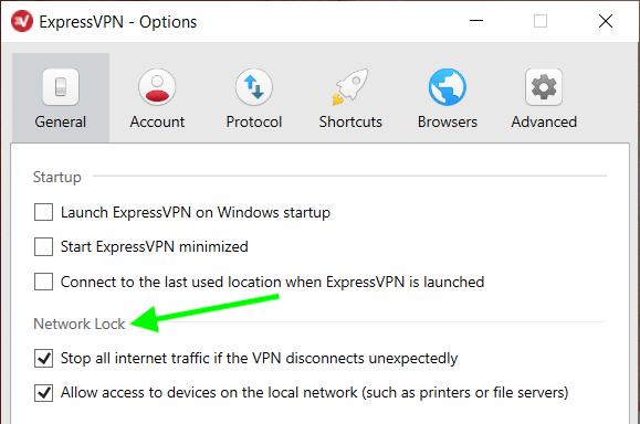 Network Lock VPN kill switch