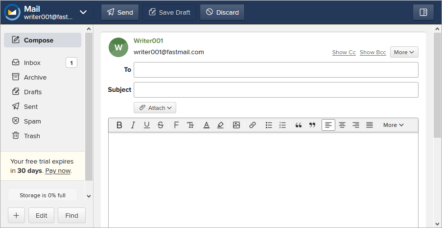 fastmail compose email window