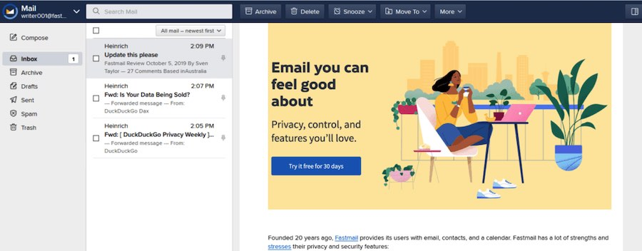 fastmail secure email review
