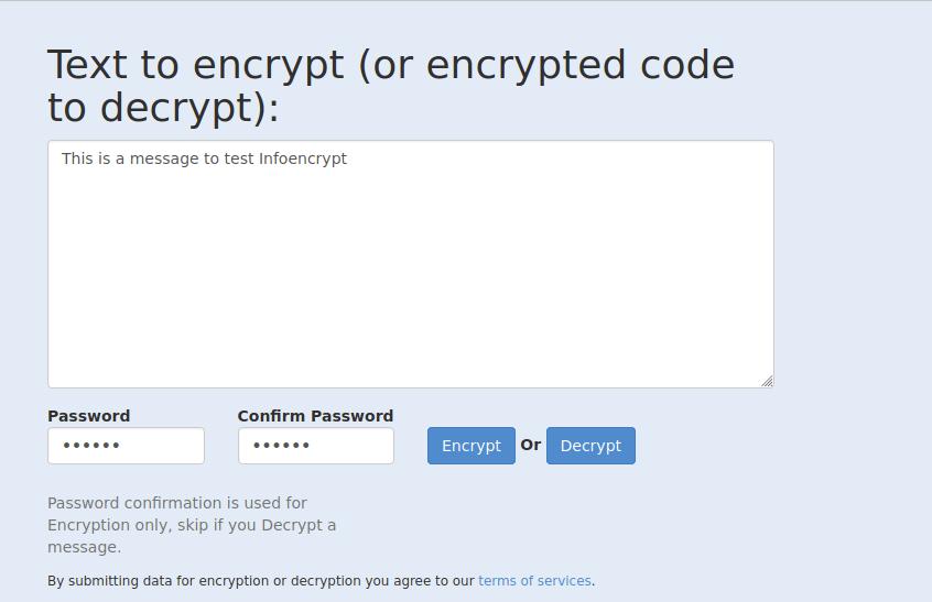 infoencrypt text to encrypt