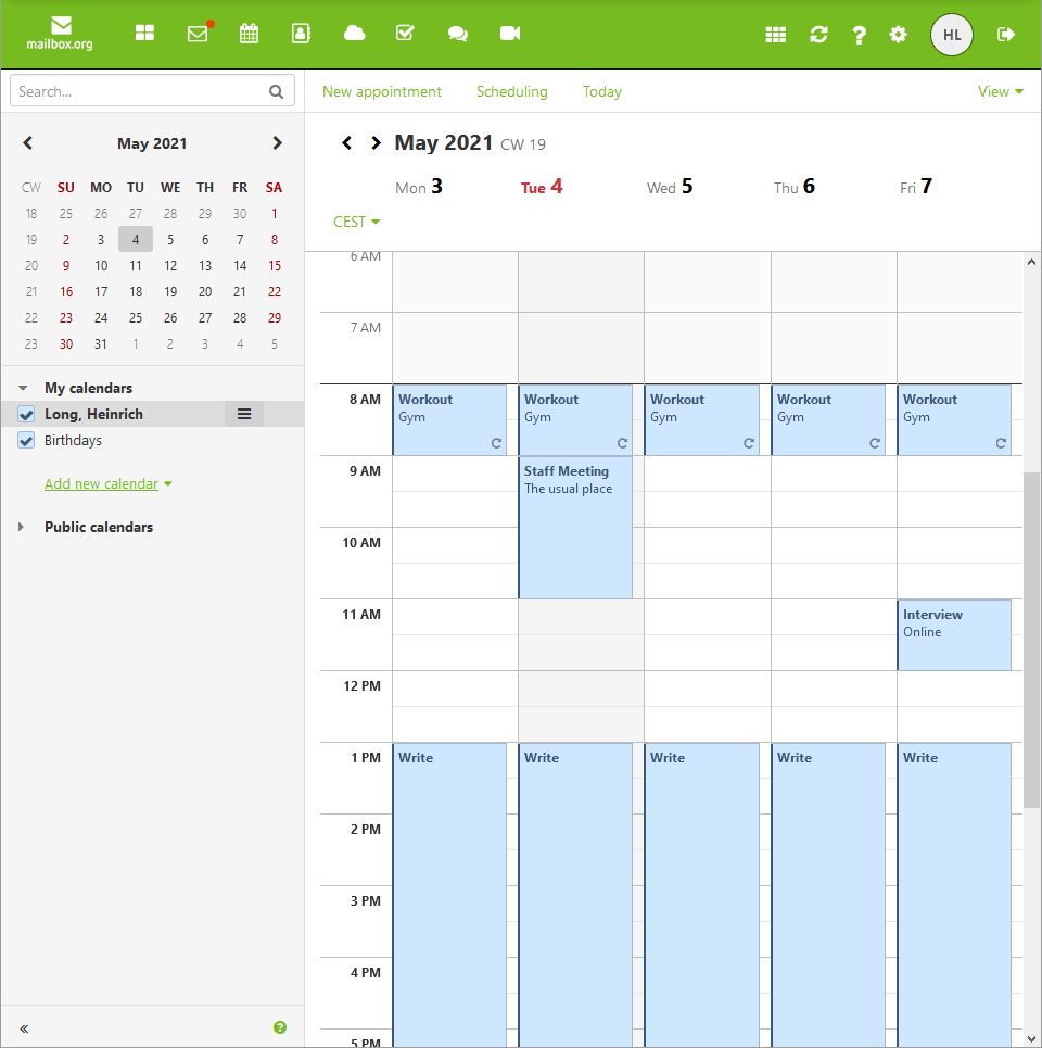 mailbox.org calendar