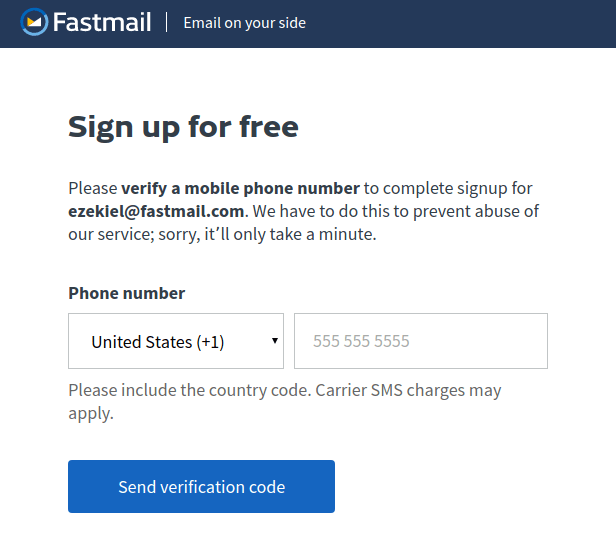 fastmail phone verification