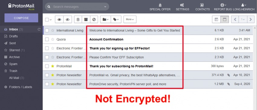 protonmail subject not encrypted