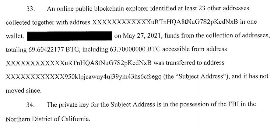 DarkSide Colonial Pipeline Bitcoin Seized