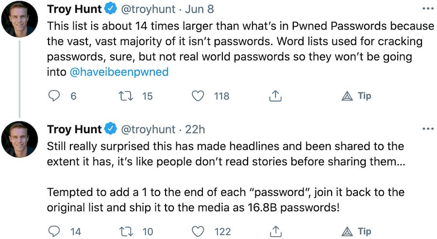 Troy Hunt on RockYou2021 Password Breach