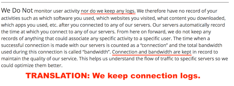 VPN logs not true