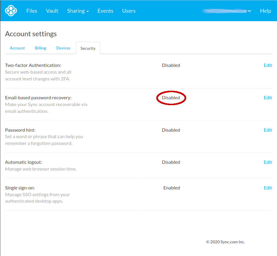 sync.com password recovery