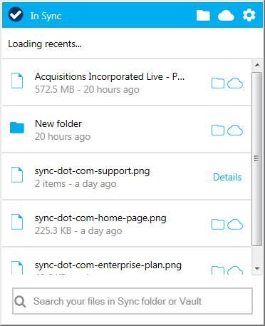 sync.com system tray