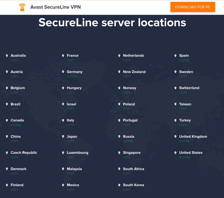Avast VPN servers
