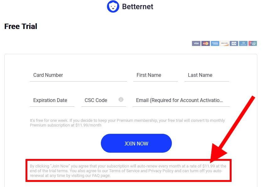 Betternet VPN free trial