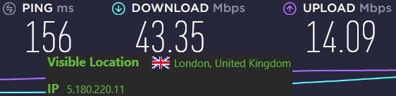 IPVanish server speeds