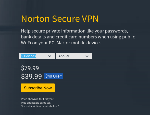 Norton Secure VPN prices
