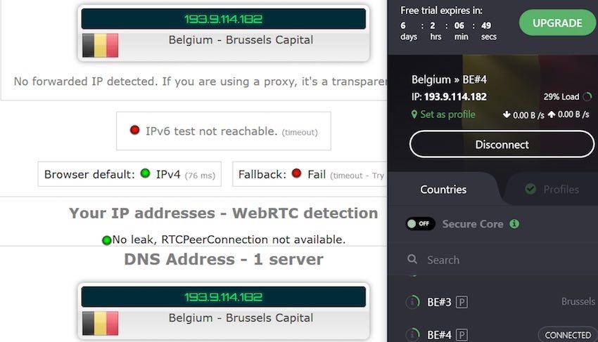ProtonVPN leak test