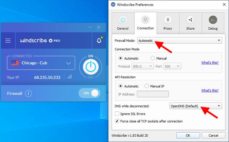 Windscribe VPN kill switch
