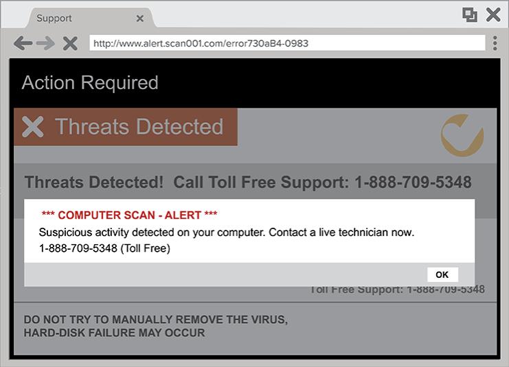 scam popup example from FTC website