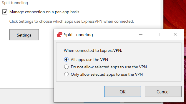 split tunneling feature with ExpressVPN or CyberGhost